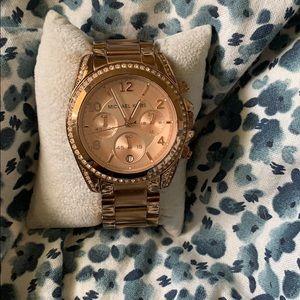Michael Kors Rose Gold Watch w/ gems
